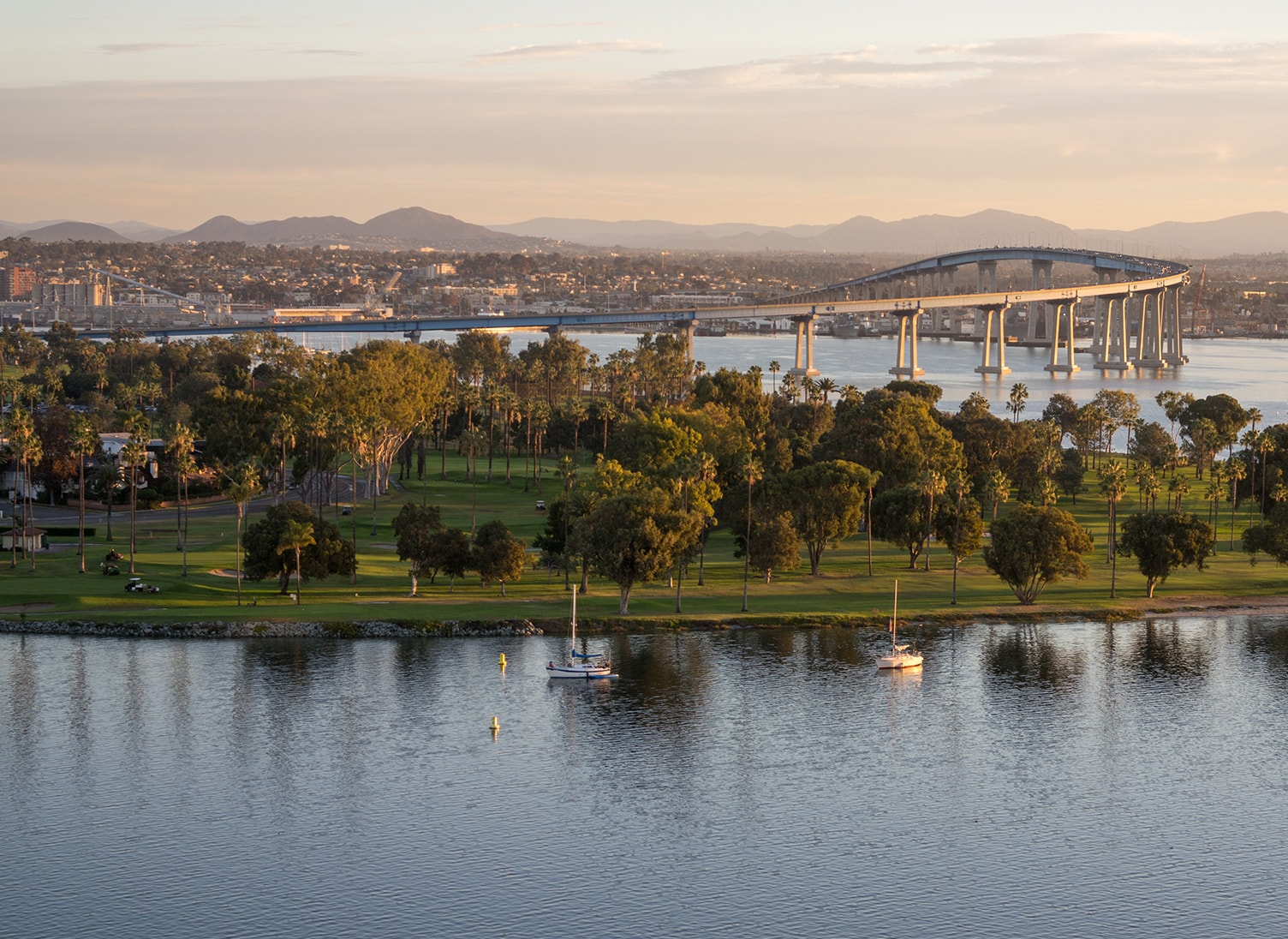 coronado, california skyline and bridge