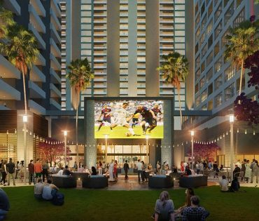 rendering of lawn and seating at dania pointe